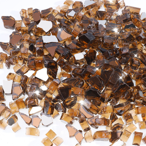 "Copper 1/2"" Tempered Fire Glass, Reflective, 20 lb."