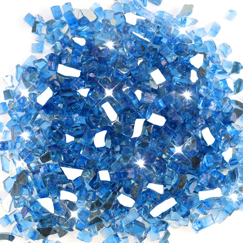 "Medium Blue 1/2"" Tempered Fire Glass, Reflective , 20 lb."