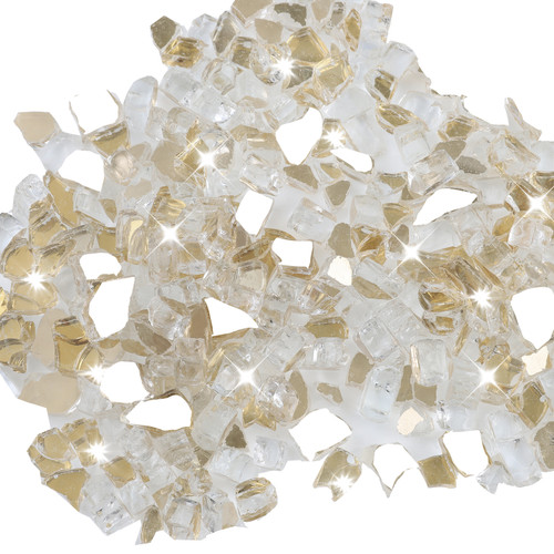 "Gold 1/2"" Tempered Fire Glass, Reflective, 20 lb."