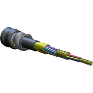 CORNING 24 fiber FREEDM One cable. Indoor/outdoor riser rated. Interlocking armor with outer jacket. SMFe, .65/.50 dB/km. Print in ft. MOQ 100ft.