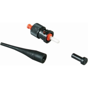 AFL Field Master field-installable ST fiber optic connector. 127um ferrule size, 900 um cable diameter, zirconia ceramic ferrule, quick cure epoxy. Black