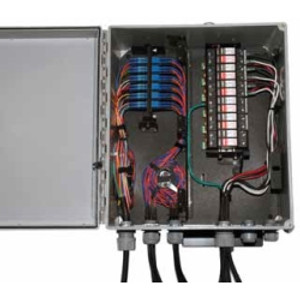 CORNING Remote Radio Distribution Terminal. ED6 Housing. One Panel. 24-Fiber. MM (62.5 micron, OM1) LC Duplex adapters. 3 Surge protectors.