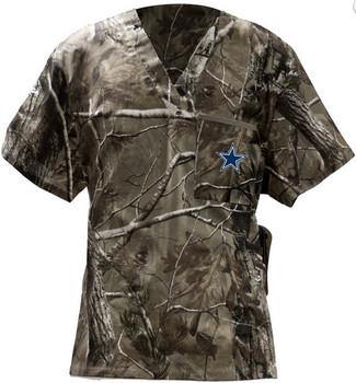Dallas Cowboys Real Tree Camo V Neck NFL Scrub Top