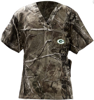 Green Bay Packers Real Tree V Neck Scrub Top
