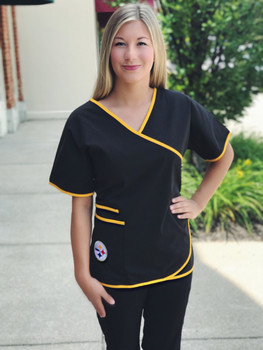 Pittsburgh Steelers Women's NFL Mock Wrap Scrub Top