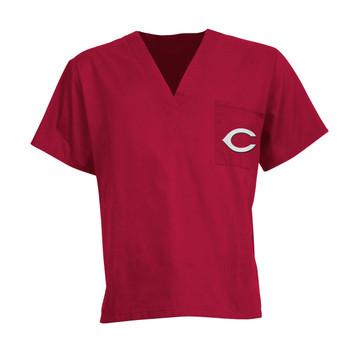 Cincinnati Reds MLB V Neck Scrub Top