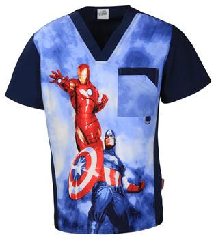 Marvel Comic Captain America and Iron Man Scrub Top