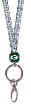 Green Bay Packers Bling Lanyard - Silver
