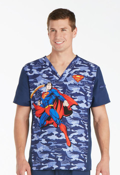 Superman Save The Day Scrub Top for Men