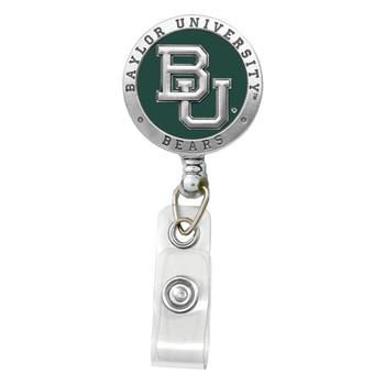 Baylor Retractable Pewter Badge Reel - Licensed Baylor Badge Reel