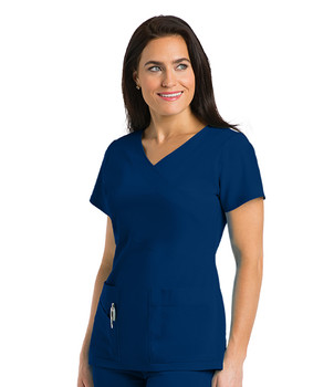Grey's Anatomy Signature : Stretch 3 Pocket Mock Wrap Scrub Top For Women*
