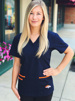 Denver Broncos Women's NFL Scrub Top with Front Patch Pockets