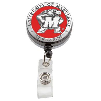 University of Maryland  Retractable Pewter Badge Reel - Licensed Terrapins Badge Reel