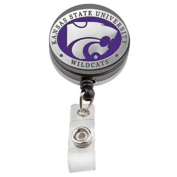 Kansas State Retractable Pewter Badge Reel - Licensed Wildcats Badge Reel