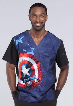 Marvel Comic Captain America V Neck Scrub Top