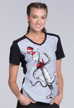 Dr. Seuss Cat In The Hat Scrub Top For Women