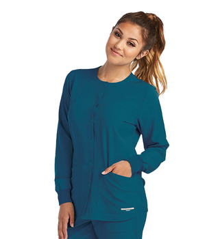 Skechers Women's Stability Snap Front Warm Up Solid Scrub Jacket*