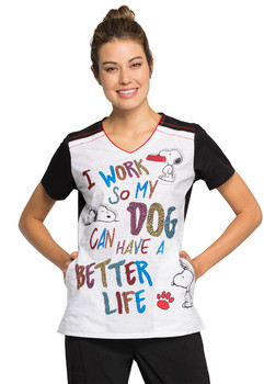"""Snoopy Scrub """"Better Life"""" Top for Women"""