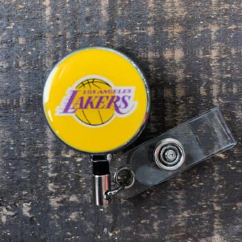 Los Angeles Lakers Yellow Retractable Badge Reel