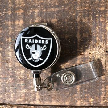 Oakland Raiders Black Retractable Badge Reel
