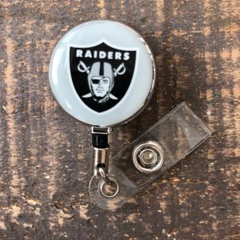 Oakland Raiders Grey Retractable Badge Reel