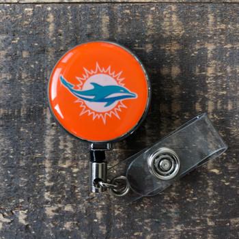 Miami Dolphins Orange Retractable Badge Reel