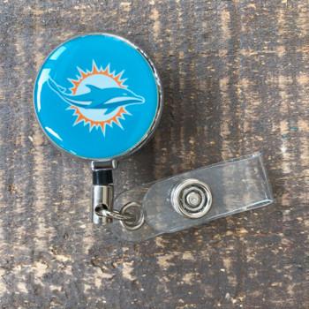 Miami Dolphins Aqua Retractable Badge Reel