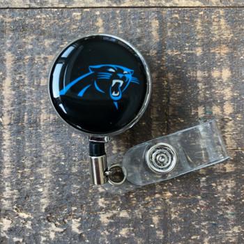 Carolina Panthers Black Retractable Badge Reel
