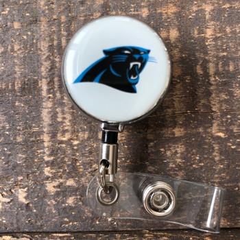 Carolina Panthers White Retractable Badge Reel