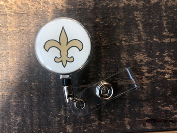 New Orleans Saints White Retractable Badge Reel