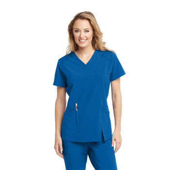 Barco ONE Wellness Antimicrobial : V Neck Front Slit Scrub Top For Women style bwt012*