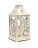 White Lantern w/ Snowflake Cutouts & LED Candle