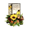 """""""Serve The Lord"""" 6"""" Stained Glass Memorial Lamp"""