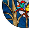 Birds in the Night Sky Round Stained Glass Window Panel