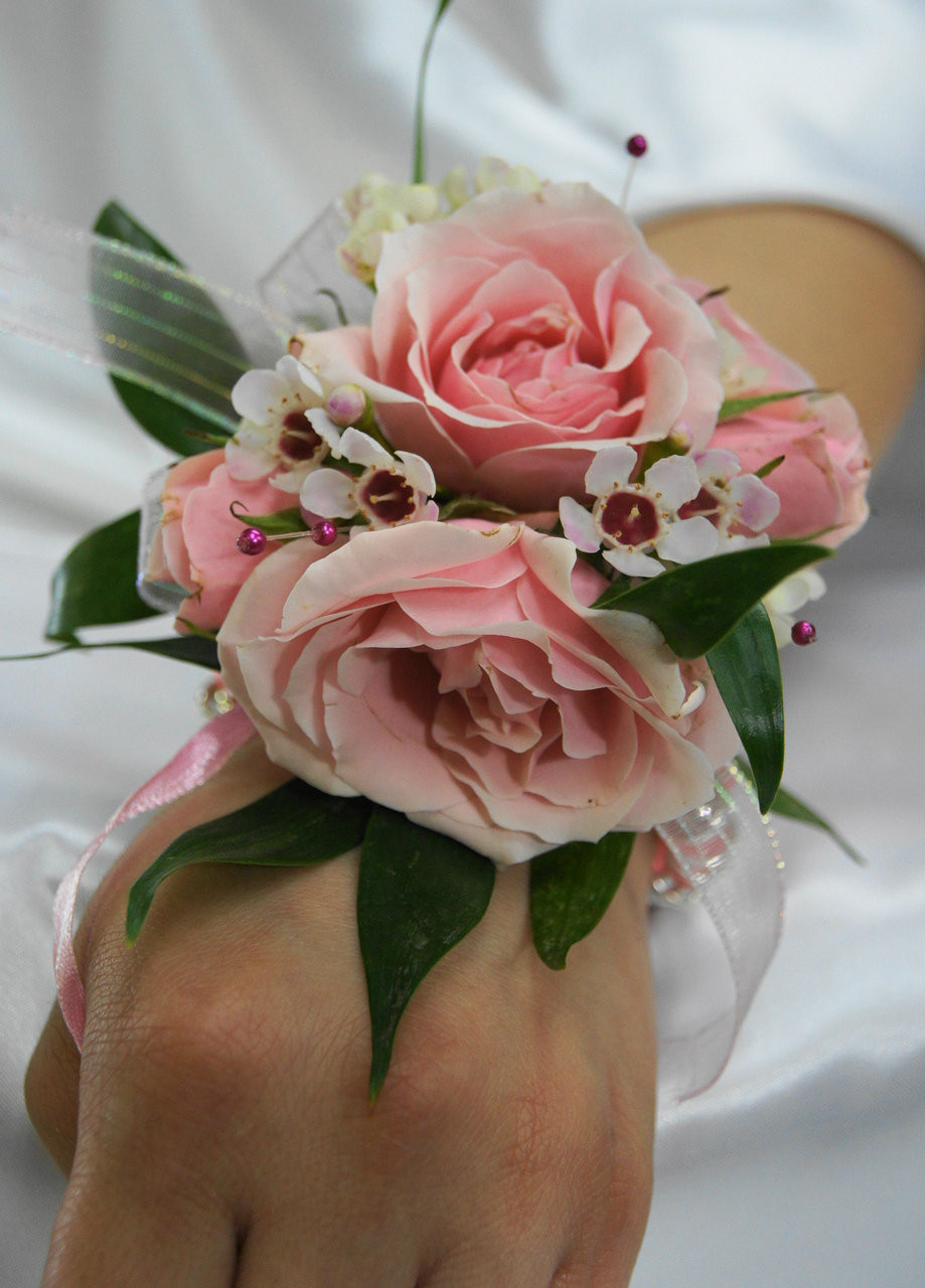 Pink and White Rose Wrist Corsage