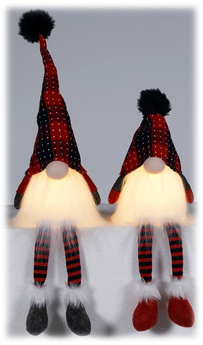 LED Plush Glowing Gnome Sitter Set of 2 - By Wills Co