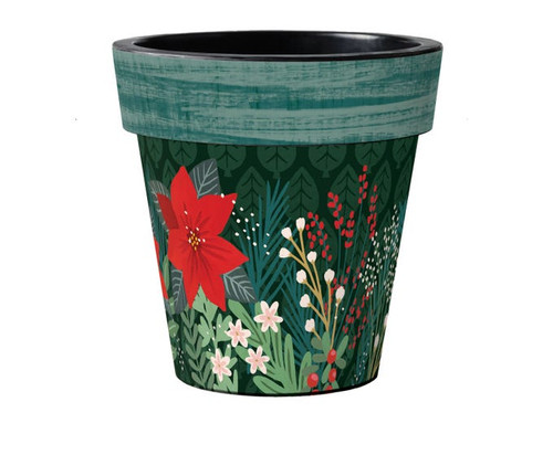 "Winter Garden Poinsettia 18"" Art Planter Set of 2 - By Studio M"