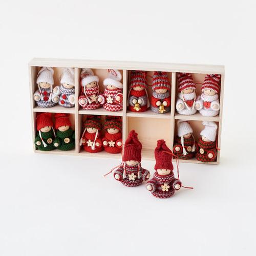 Sweater Folk Ornament, 16 Asst, w/Wood Display Box