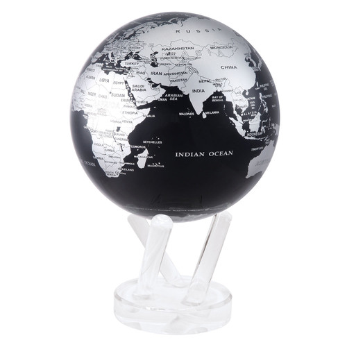 """4.5"""" Self Turning Black with Silver Globe with Acrylic Base by Mova"""