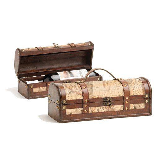 1 Bottle Old World Wooden Wine Box by Twine®
