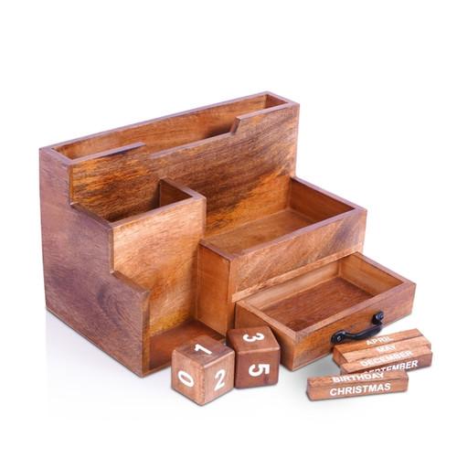 Wooden Desk Organizer with Block Calendar and Mail Sorter