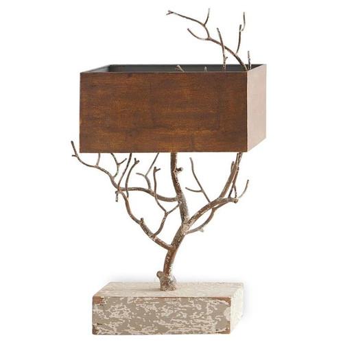 "28"" Tree Lamp w/Rectangular Metal Table Lamp Shade"