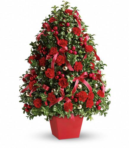 Deck the Halls Tree ~ Fresh Evergreens  & Floral