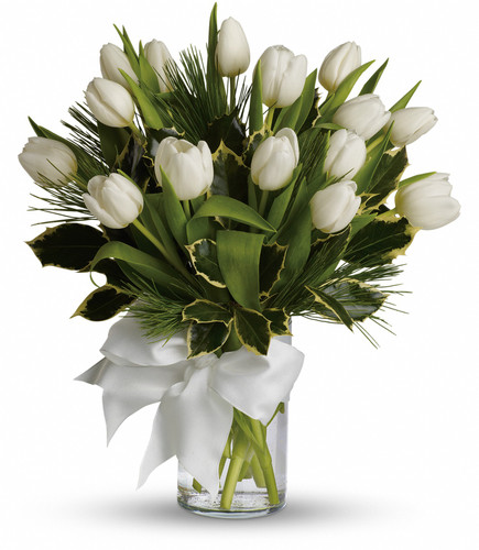 White Tulips and Pine Bouquet (Pine When In Season)