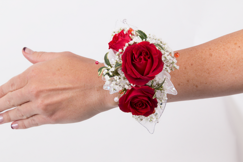 Custom Made -Red Roses With Baby Breath Wrist Corsage