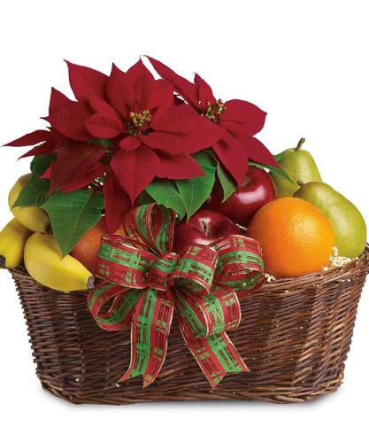 Festive Poinsettia Fruit Basket