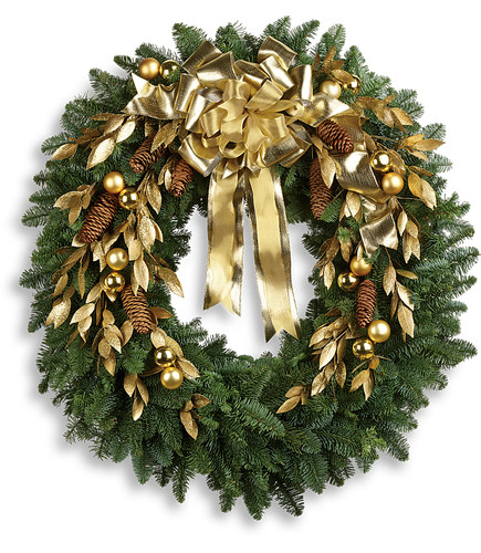 Glitter & Gold Fresh Evergreen Wreath
