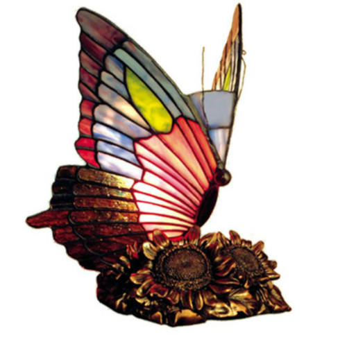 Tiffany Style Sunflower Butterfly Accent Lamp