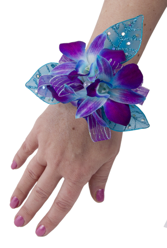 Custom Made -Orchid Blue Bomb Wrist Corsage