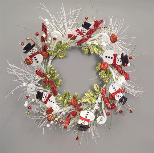 Glittered Snowman Pine Wreath